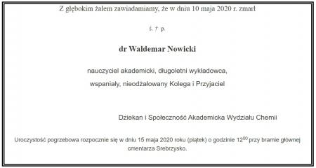 Zmarł dr Waldemar Nowicki